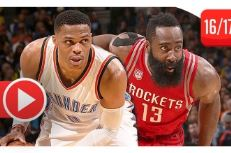 Le duel Russell Westbrook (27 pts, 10 rbds, 10 asts) – James Harden (21 pts, 9 rbds, 12 asts)